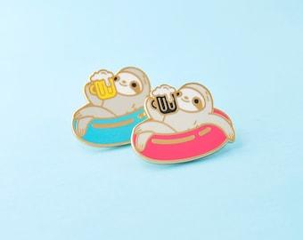 Sloth enamel pin, beer sloth pin, sloth lapel pin, sloth hat pin, sloth gift for sloth lovers, sloth gift fo him