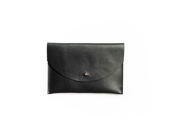 Black Leather Envelope Clutch | Bag | iPad Sleeve | Purse