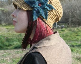 Ochre Tweed Slouchy Newsboy Hat- All Wool- Teal Felted Flower Brim Hat