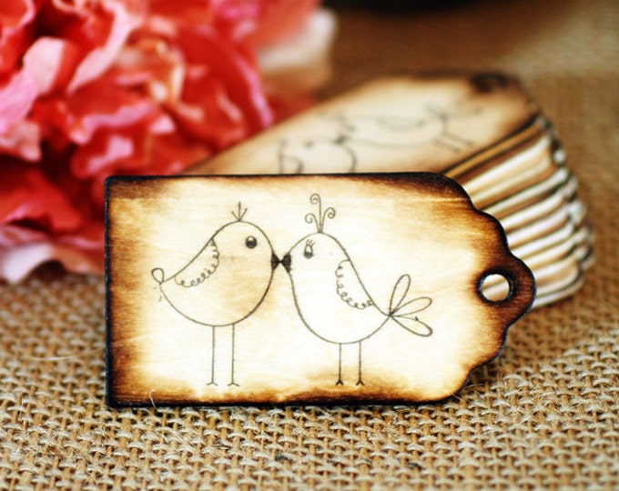 75 Wooden Wishing Tree Tags 'Love Birds' with Rustic Twig Pen
