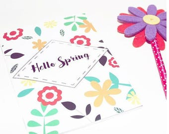 "Handmade notebook ""Hello Spring"" floral patterns"