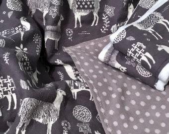Soft and Cozy Llama Blanket and Burp Cloth Bundle. Gray and Cream Color. Flannel.
