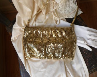 Whiting and Davis Mesh Purse, Gold Armor Mesh Evening Bag with Long Strap