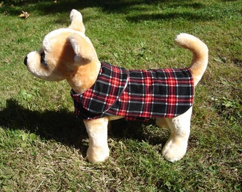 Dog Jacket -  Black Red and White Corduroy Plaid Coat- Size XX Small- 8 to 10 Inch Back Length - Or Custom Size