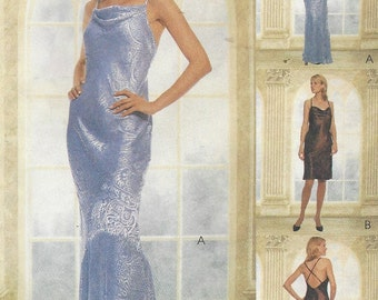 90s Womens Bias Cut Evening Gown McCalls Sewing Pattern 9227 Size 12 14 16 Bust 34 36 38 UnCut Prom, Wedding or Formal Gown
