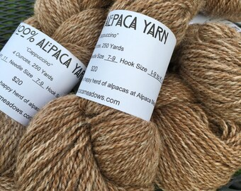 "Alpaca Yarn, Two Ply, Worsted Weight, Undyed, White and Medium Fawn Blend, ""Cappuccino"""