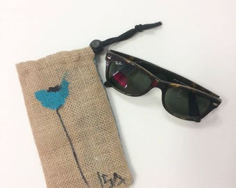 Burlap canvas fabric glasses case