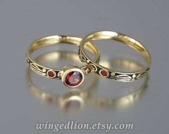 AUGUSTA 14K gold Red Garnet engagement ring & band wedding set