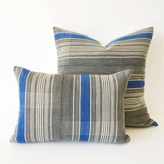 18 x 12 Grey, Ivory and Blue Striped Pillow