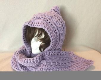 Lavender Hipster Hooded Scarf