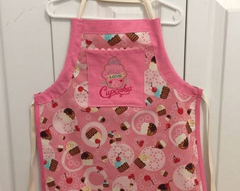 Peace, Love, and Cupcakes Self-adjustable Child's Canvas Apron, Art Smock