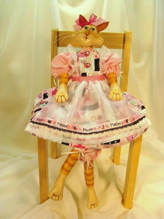Lilly Cat - Mailed Cloth Doll Pattern Beautiful Art Doll Kitty Cat Pattern