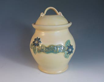 Cookie Jar - Canister - Yellow with flowers - Large Kitchen storage - lidded jar