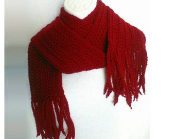 Red Crochet Scarf with Fringe, Warm Winter Scarf, Customizable Scarf, Dark Red Scarf