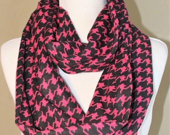 Pink Houndstooth Flannel Infinity Scarf