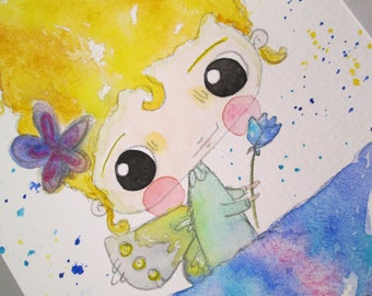 Original Mixed Media Watercolor Flower Fairy Girl Fairies Purple Blue by Ceville Designs