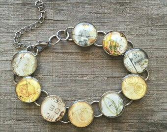 Australia - Bracelet Made with Real Postage Stamps, White and Yellow,  Feminine and Unique