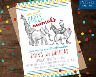 Calling All Party Animals! Birthday Party Invitation - Party Animals - Zoo - Happy Birthday - Birthday - Birthday Party - Digital Printable