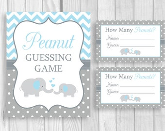 Peanut Guessing Game Printable 5x7 or 8x10 Blue and Gray Elephant Boy's Baby Shower Sign and Sheet of 3x5 Tickets - Instant Download
