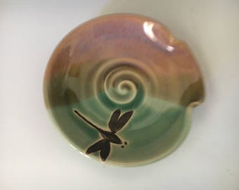 Pottery Dragonfly Spoon Rest, Wheel Thrown, Hand Painted, Dragonfly Ceramic Spoon Rest.