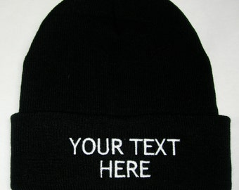 Custom Embroidery (Personalized) Embroidered Name Beanie Knit Cap w/Cuff -  BLACK