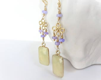 BELLA LUNA Yellow Sapphire Earrings, Lavender Purple Opal and Bali Gold Vermeil Earrings, precious gemstone link earrings