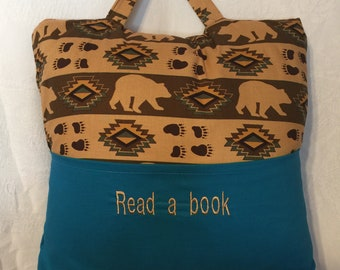 Bedtime/Travel Pillow  Bear Geometric Design  Holds a book in one pocket/and IPad or travel game in the other pocket