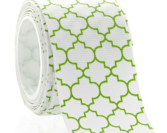 "1.5"" Green Quatrefoil Grosgrain Ribbon - 5yds"