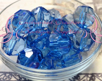 20mm Transparent Royal Blue Faceted Acylic Beads Qty 10