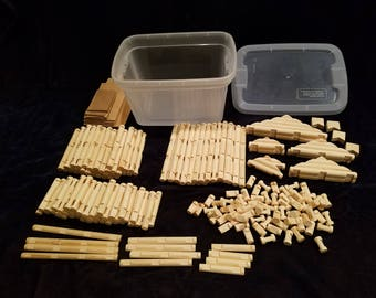Handmade 'Lincoln Logs' 206 piece set in sturdy clear plastic storage tub
