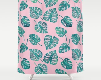 Pink and Teal Monstera Leaves Shower Curtain - blush pink shower curtain with green and teal monstera leaves, fiddle leaf fig, tropical