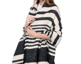 Black & Ivory Stripe Blanket Scarf(QH-311-2-01)