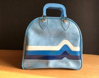Don Carter Bowling Bag - Striped Blue Bowling Bag with ball holder