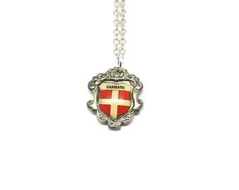Flag of Denmark necklace, danmark necklace, scandanavian necklace, vintage  necklace