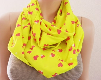 Neon Yellow Infinity Scarf Jersey Pink Heart valentines Day Gift Scarfs Scarves Fashion Womens Gift Accessories