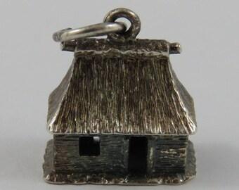 Vacation Hut Sterling Silver Vintage Charm For Bracelet