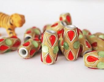 4 Kashmiri Beads Large Tube Ochre Red Green Big Hole Size 25 x 12mm