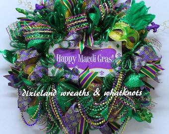 Mardi Gras Wreath, Happy Mardi Gras Wreath, Carnival Wreath, Mardi Gras, Wreath with Beads, Mardi Gras Wreath with Beads