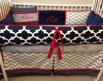 Navy Blue, REd, Gray and White  Chevron Baby bedding Crib set