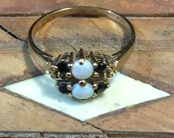 REDUCED price Vintage 1988 Victorian Style 9ct Gold Ornate Sapphire and Opal Ring / Size N