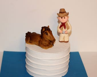 Fondant Cowboy and Horse Western Theme Cake  Decoration Horseshoe Wagon Wheel Cowboy Boot and Hat Steer Skull
