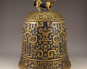 N4891 Vintage Chinese Brass Kylin Bell