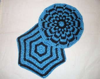 Pair of hand crocheted cotton Pot Holders