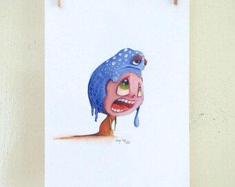 "original illustration ""Hat 08"" (oil on paper painting)"