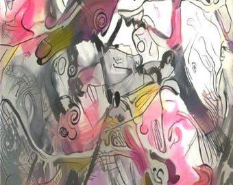 ATC ACEO Raven Song Crow Bird Pink Art Card