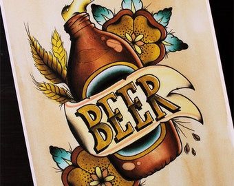 """VB Beer 11""""x14"""" Traditional Tattoo Flash Print (Other sizes available)"""