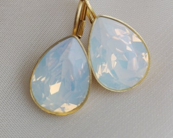 Swarovski crystal earrings, gold plated silver, leverback earrings, white opal