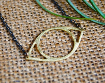 metalwork brass or nickel minimal cutout eye short necklace: little eye necklace
