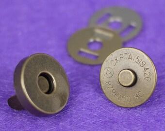 Magnetic Antique Bronze Bag Purse Snaps Closures 14mm - 100 Sets (0100-14B)