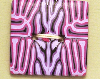 Large Square Button Pink and Purple Handmade Polymer Clay